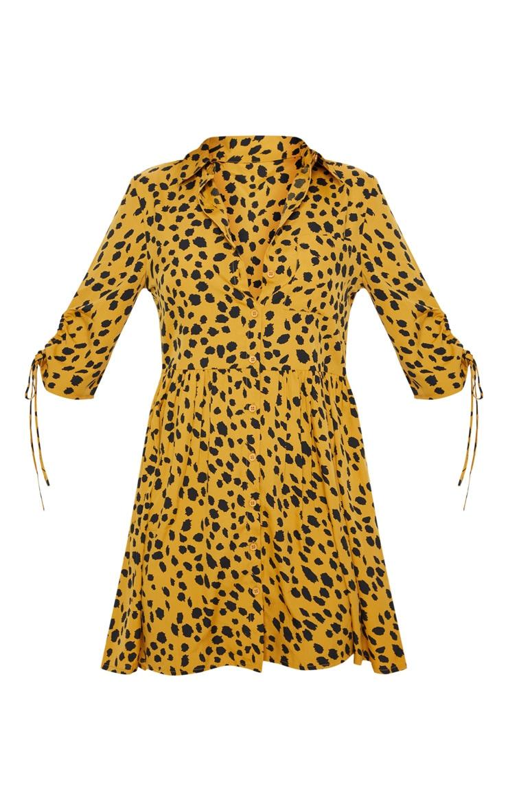 Mustard Dalmatian Print Ruched Sleeve Shirt Dress 3