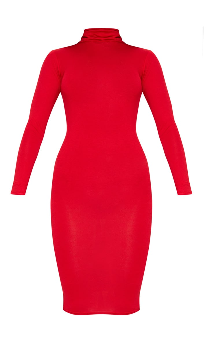 Basic Red Roll Neck Midi Dress 5