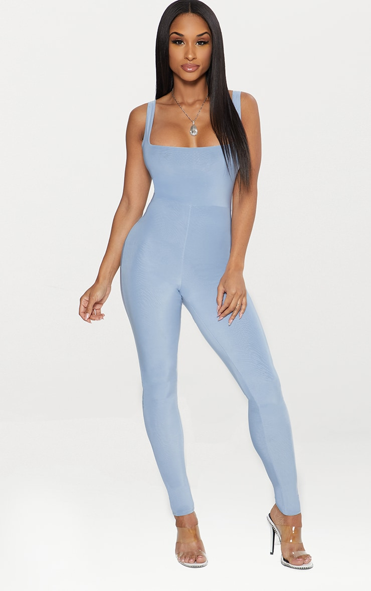 Dusky Blue Second Skin Slinky Square Neck Jumpsuit 1