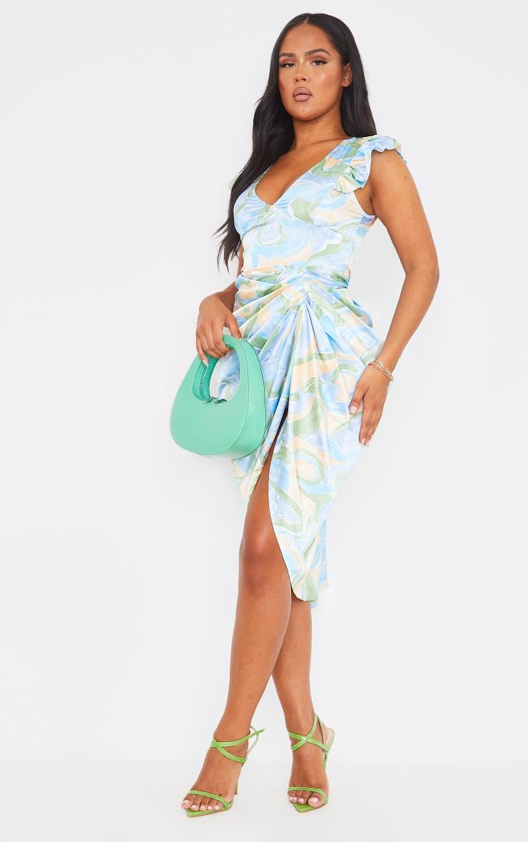 Blue Abstract Print Satin Buttoned Draped Midi Dress 1