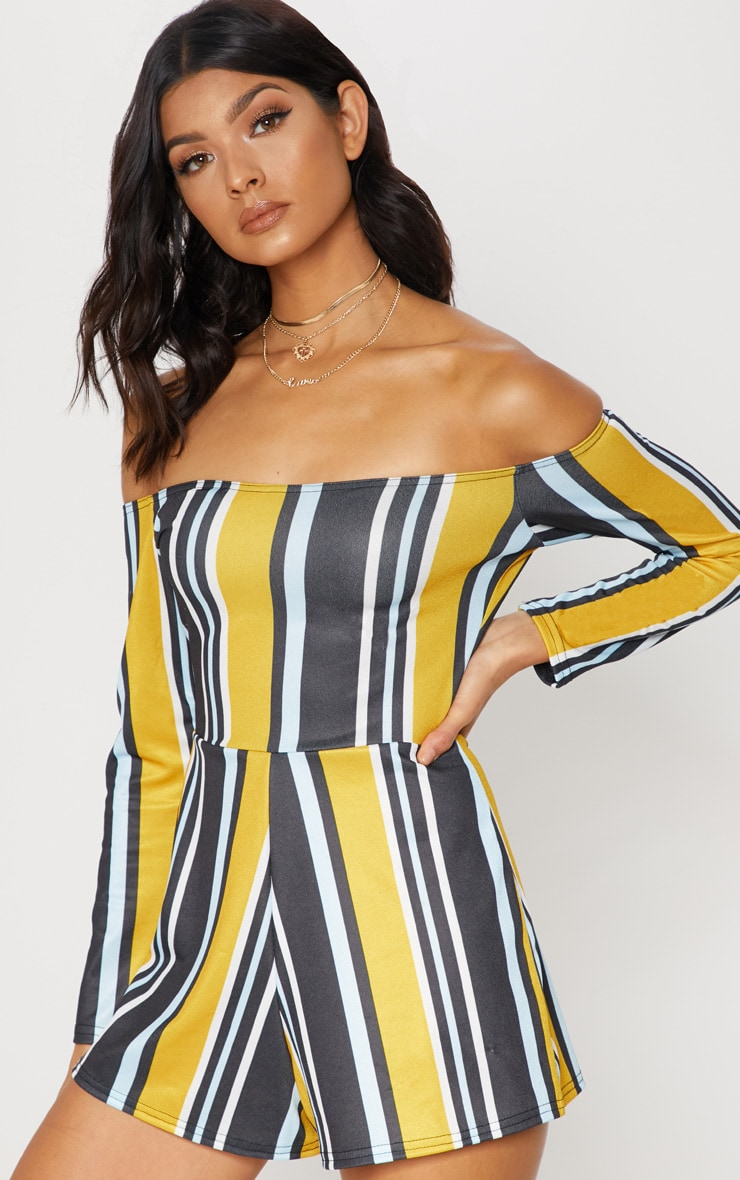 Mustard Stripe Bardot Playsuit