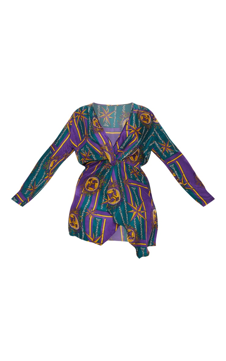 Plus Purple Printed Long Sleeve Wrap Dress 3