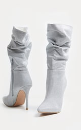 Silver Glitter Slouch Heeled Boot 4