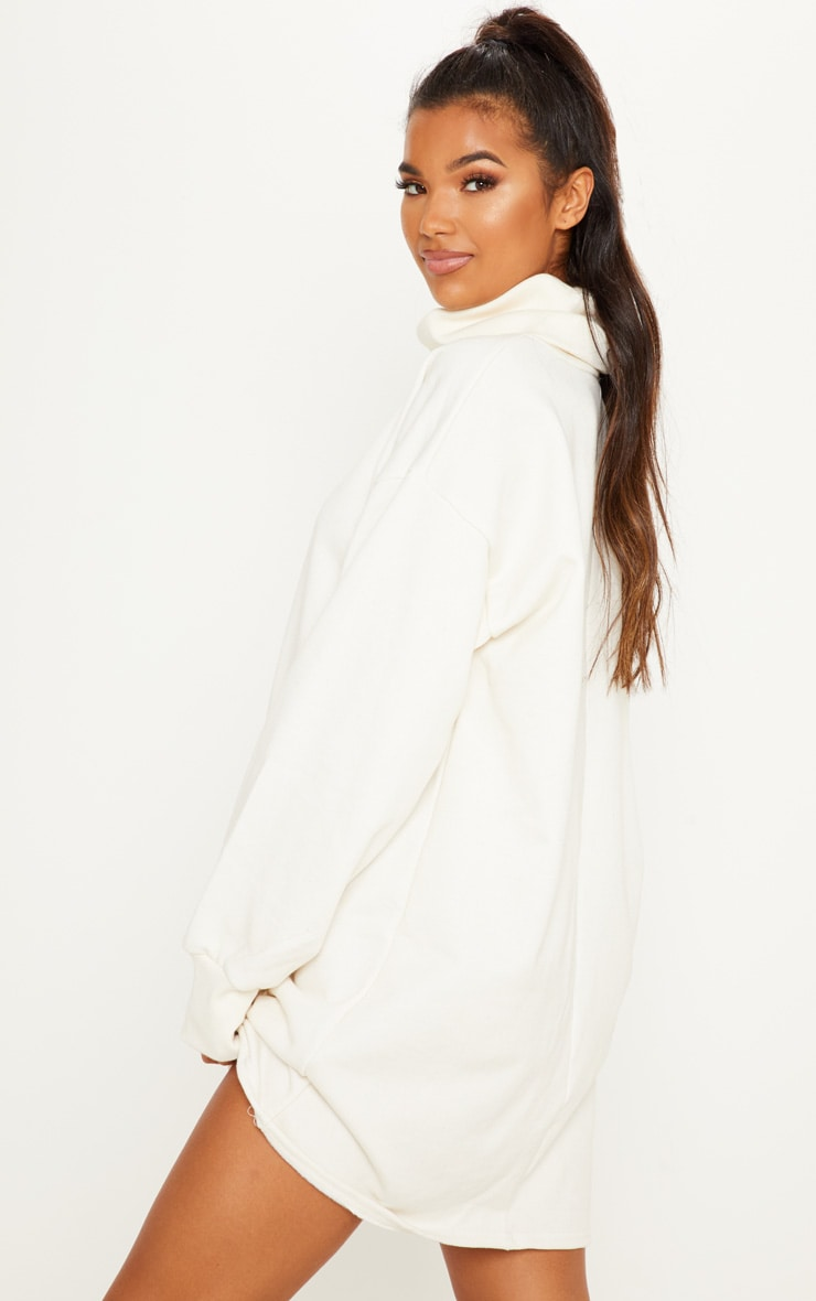 Cream Oversized Sweat Roll Neck Jumper Dress 2