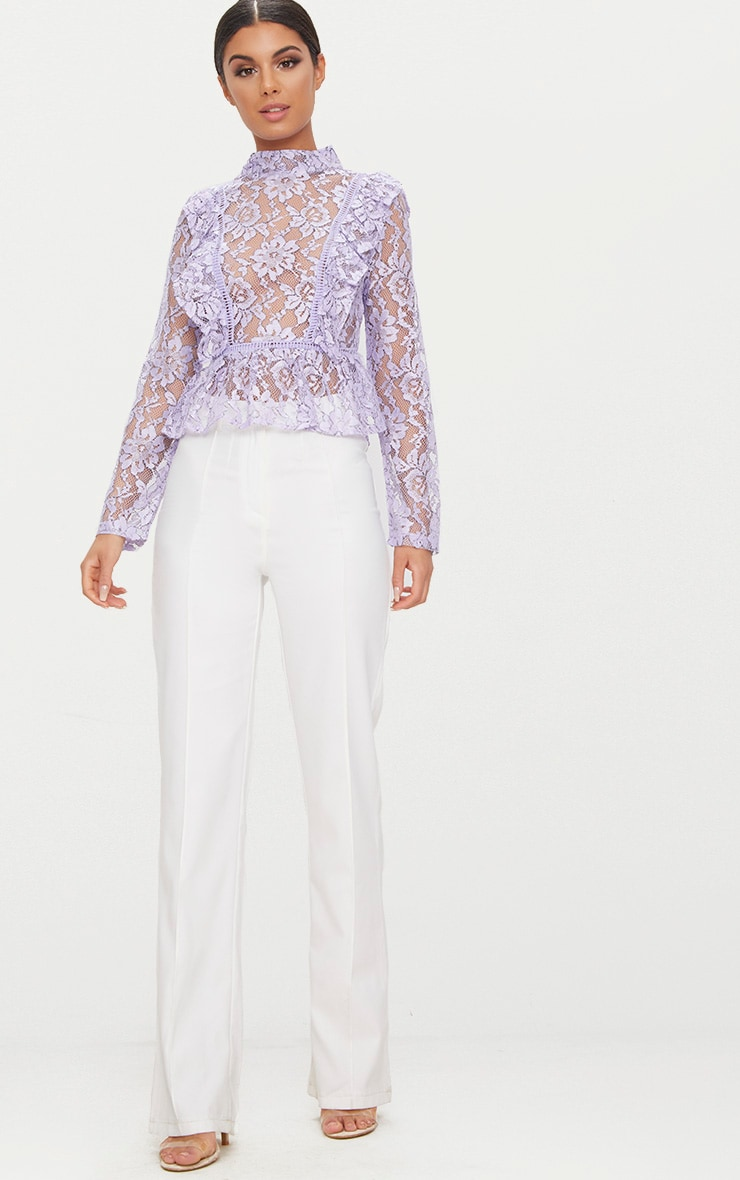 Lilac Frill Front Lace Blouse  4