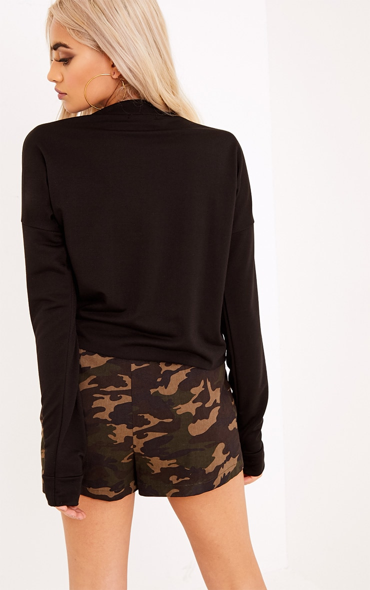Ione Black Ruched Crop Longsleeve Sweater 2