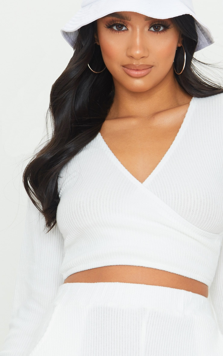 Petite Cream Wrap Over Long Sleeve Brushed Rib Crop Top 4