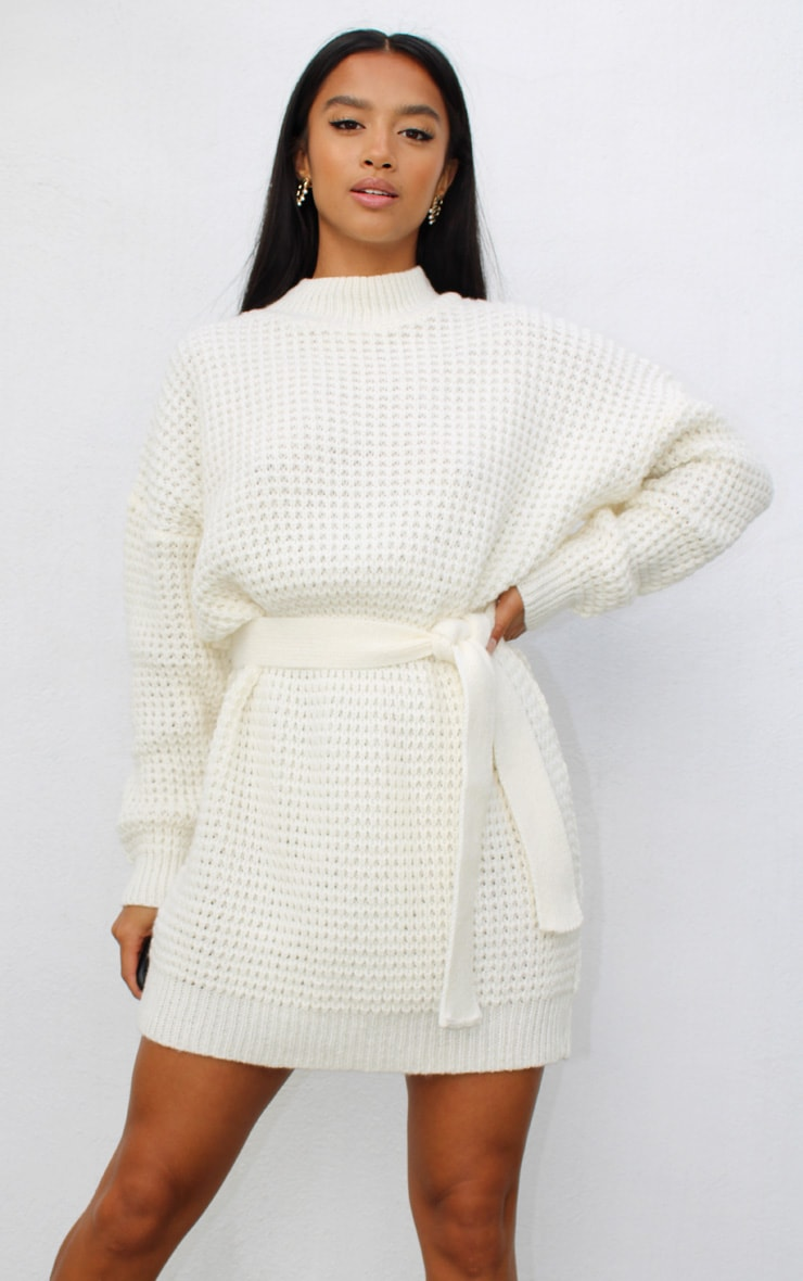 Petite Cream Soft Touch Belted Knitted Jumper Dress 3