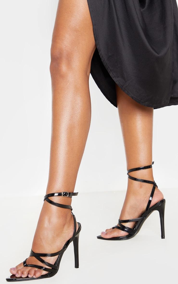 Black Point Toe Thong Multi Strappy Sandal 1