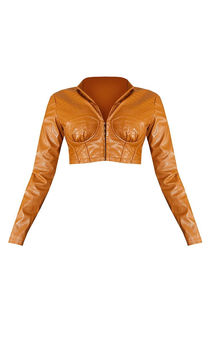 Toffee Faux Leather Croc Cup Detail Corset Cropped Blazer 5