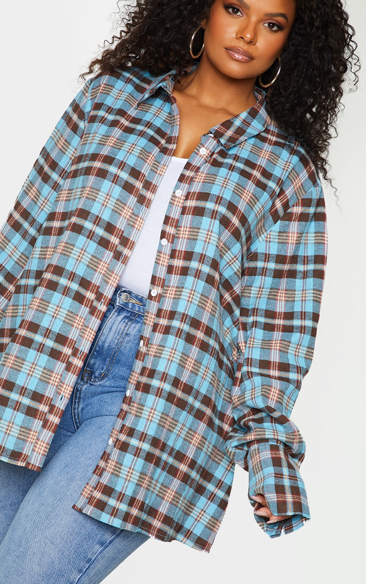 Plus Blue Checked Oversized Shirt 4