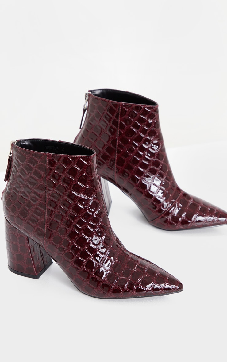 Dark Red Croc Curved Block Heel Ankle Boot 3