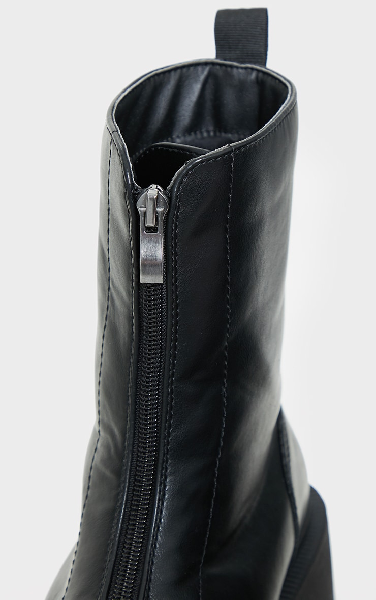 Black Wide Fit Chunky Zip Front Biker Boots 4