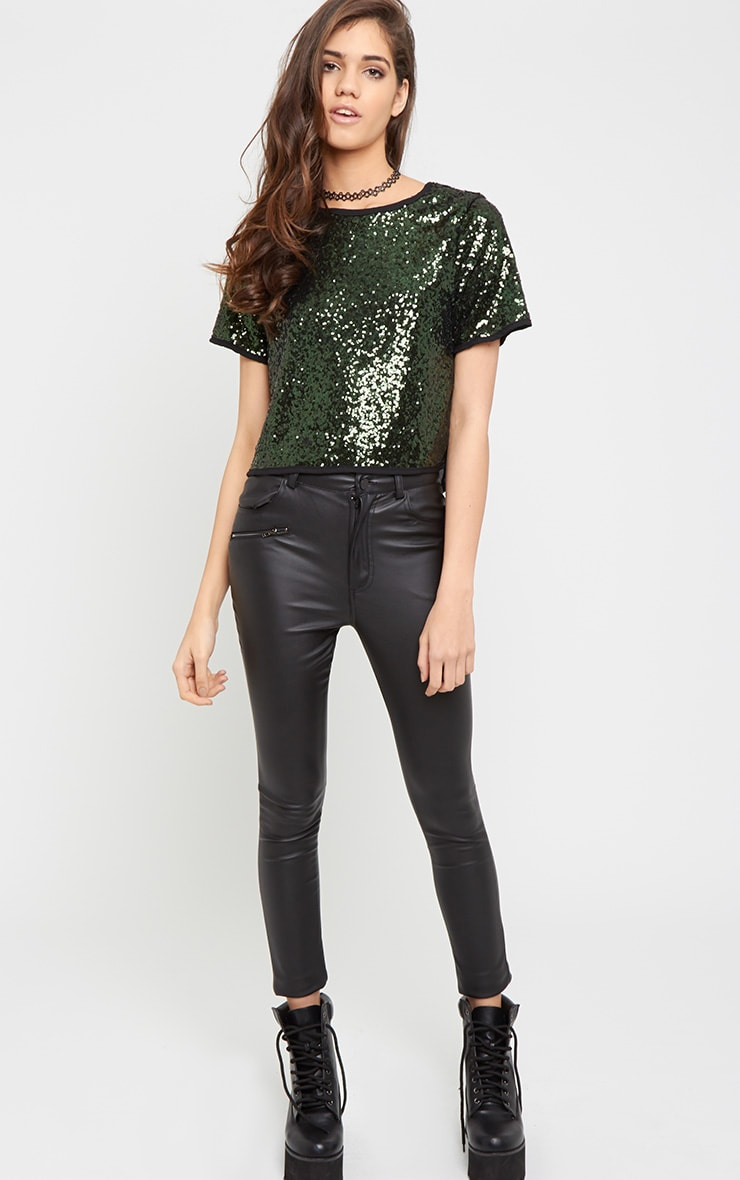Diya Green Sequin Crop Tee 3