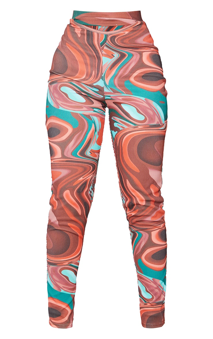 Petite Red Abstract Print Rib Cut Out Waist Leggings 5