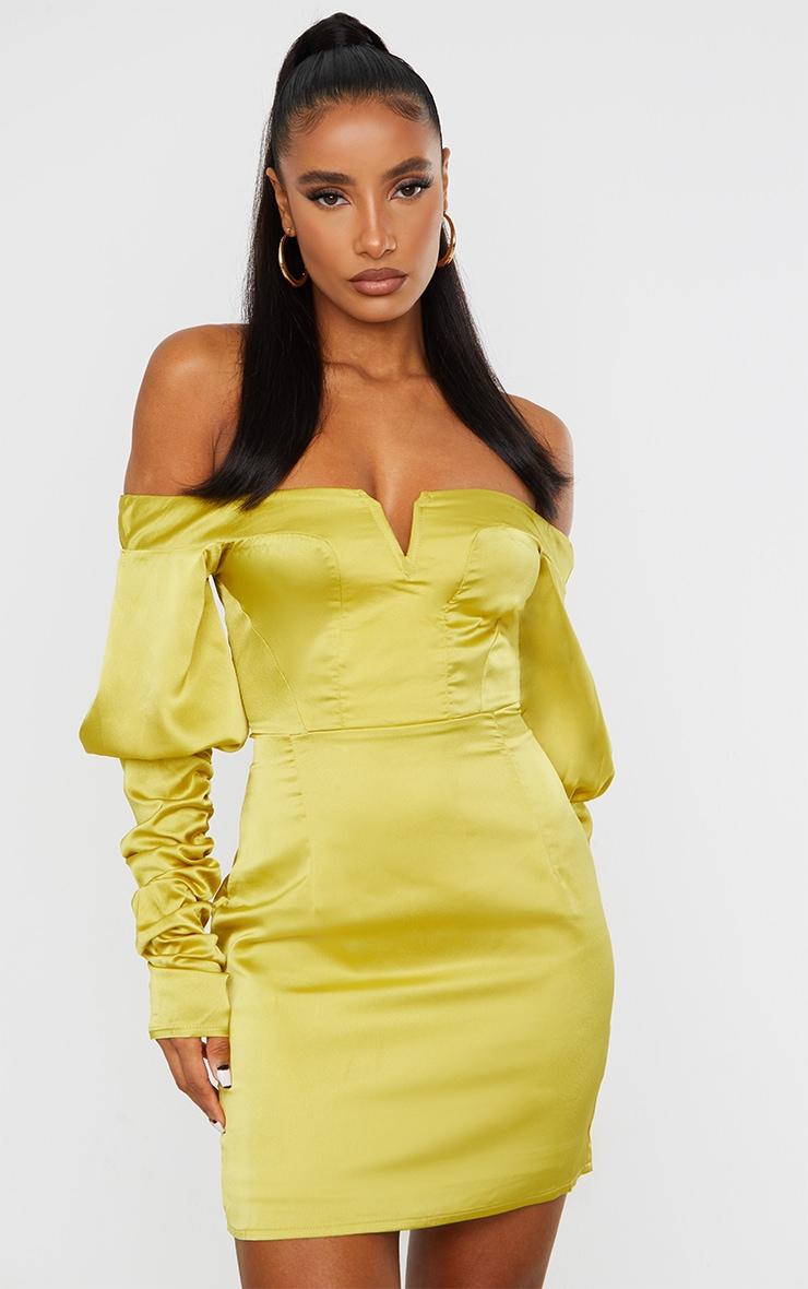 Chartreuse Satin Bardot V Bar Ruched Sleeve Bodycon Dress 1