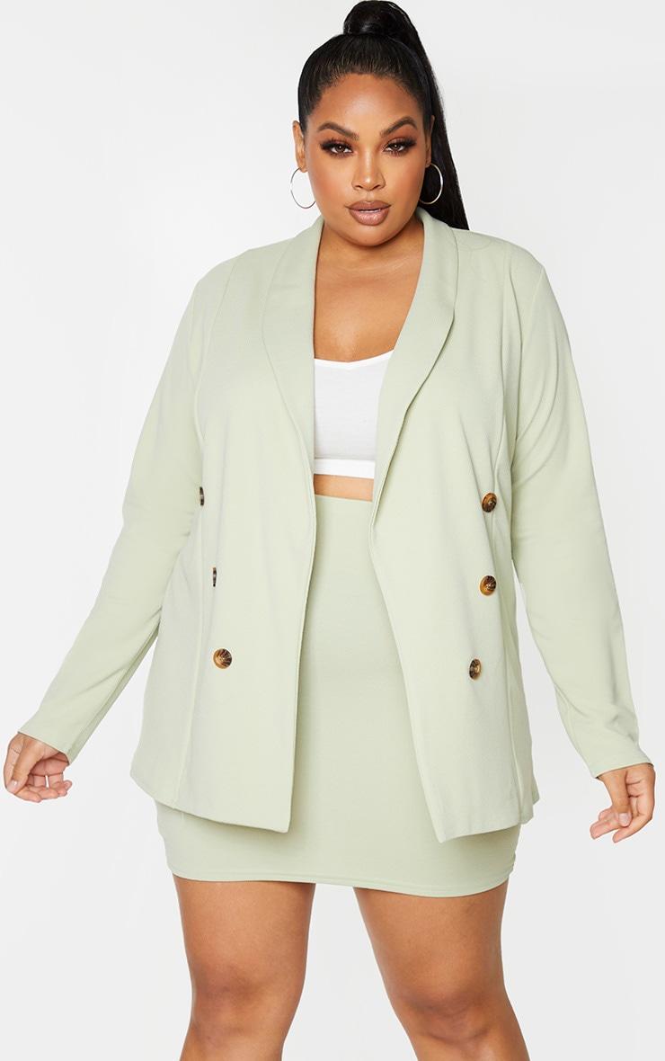 Plus Sage Green Oversized Button Detail Blazer 3