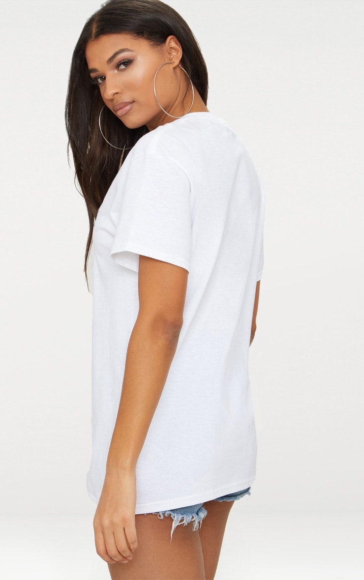 PRETTYLITTLETHING White Stripe Detail Oversized Slogan T Shirt 2