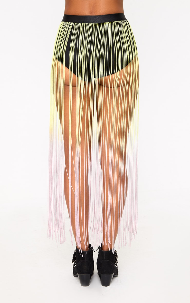 Yellow Ombre Fringed Shorts  3