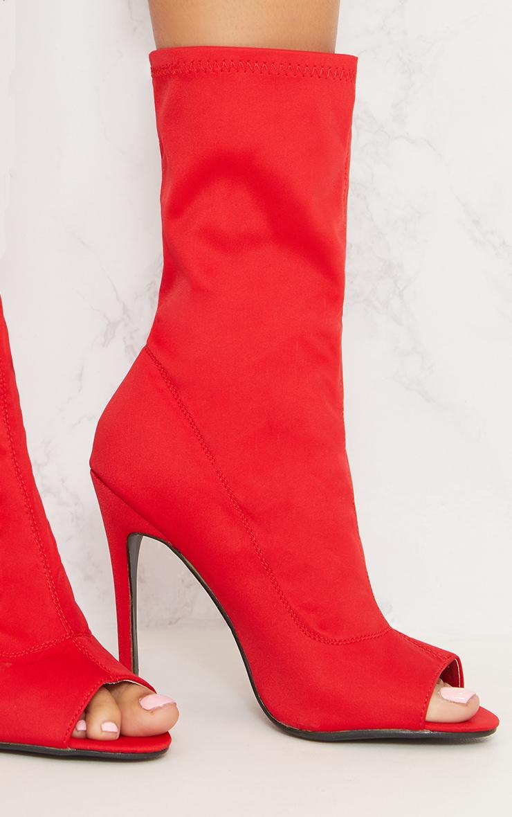 Red Lycra Peeptoe Sock Boot 6