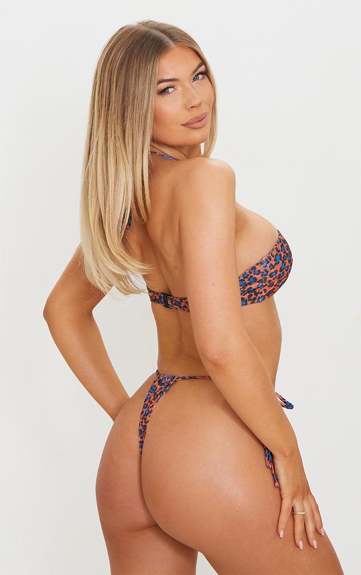 Orange Cheetah Print Tie Back Adjustable Mini Bikini Top 2