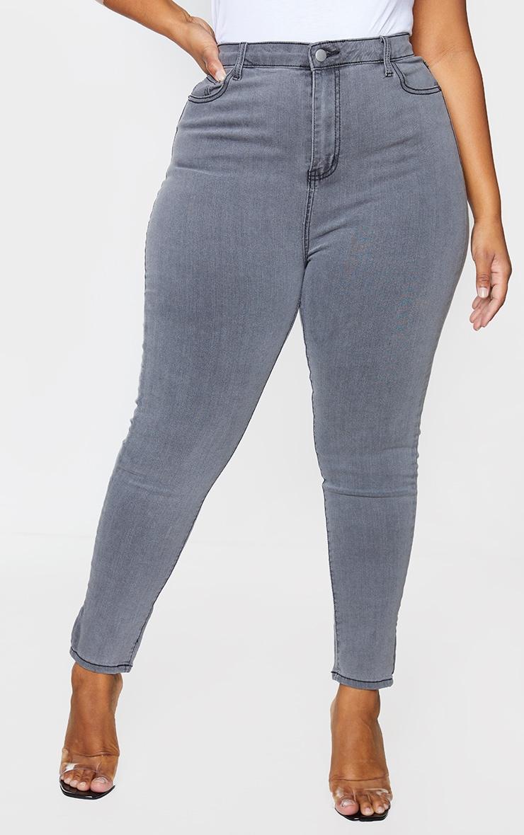 PRETTYLITTLETHING Plus Grey 5 Pocket Skinny Jeans 2
