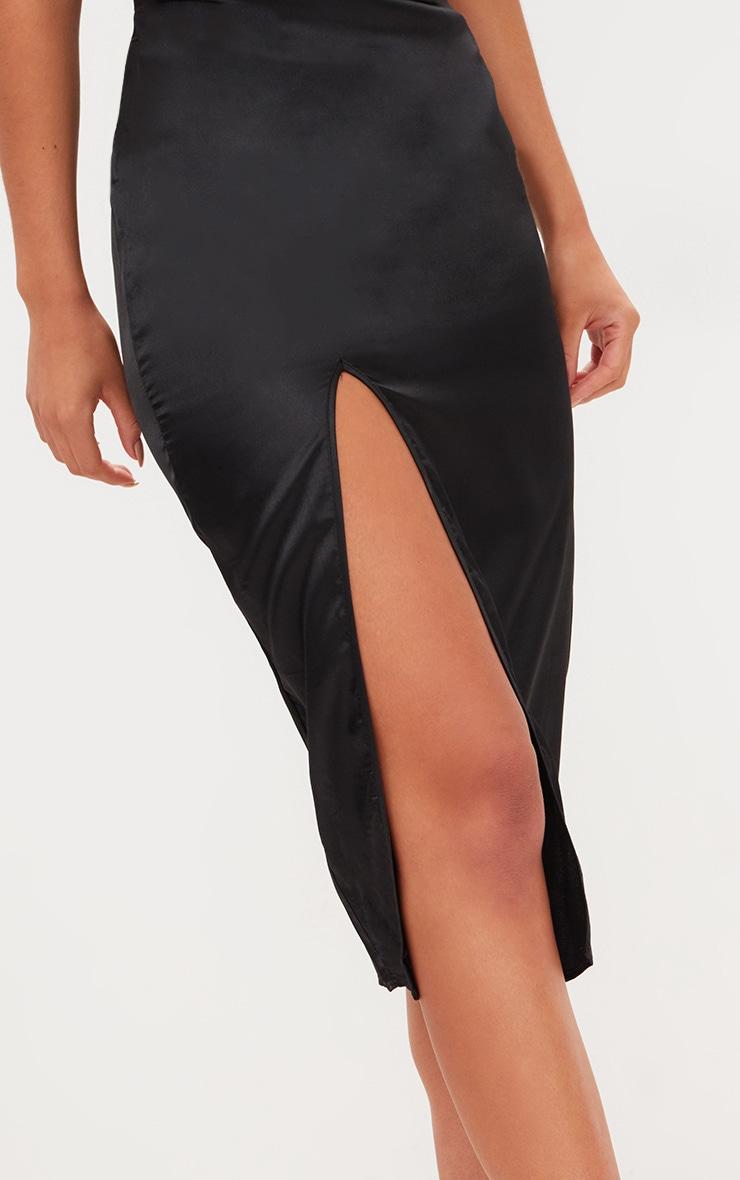 Black Strappy Satin Cowl Neck Midi Dress 5