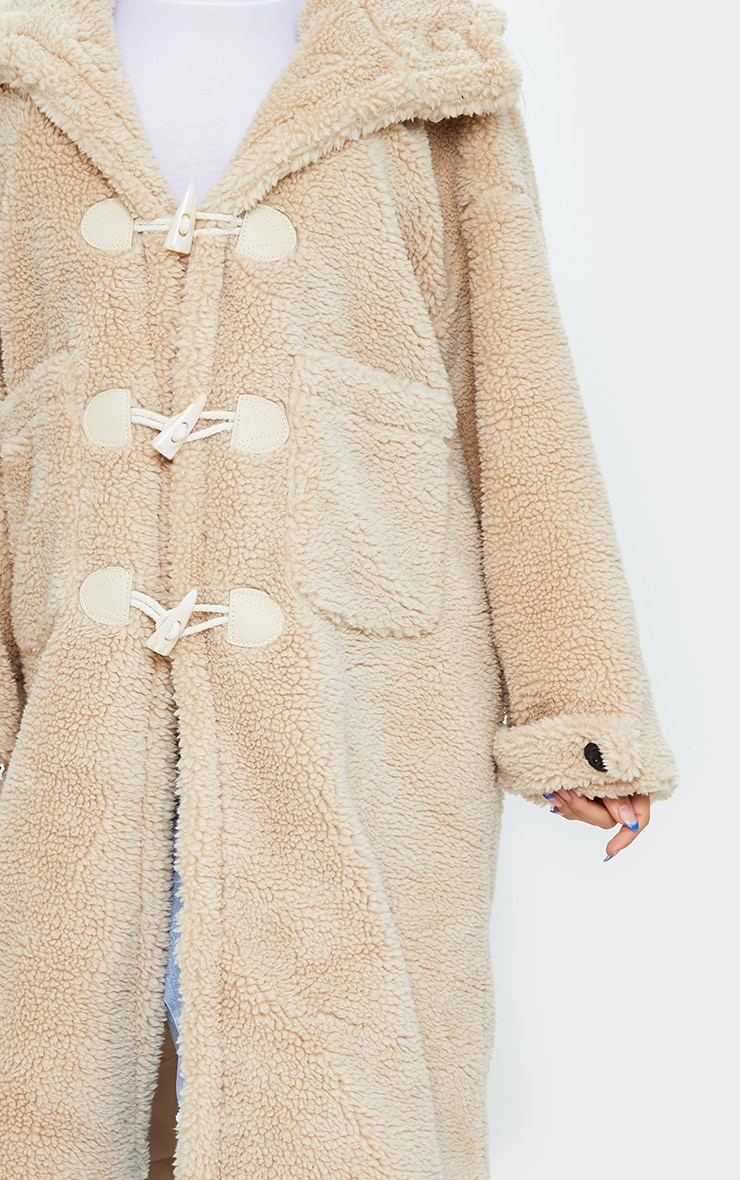 Sand Faux Fur Teddy Toggle Maxi Coat 4