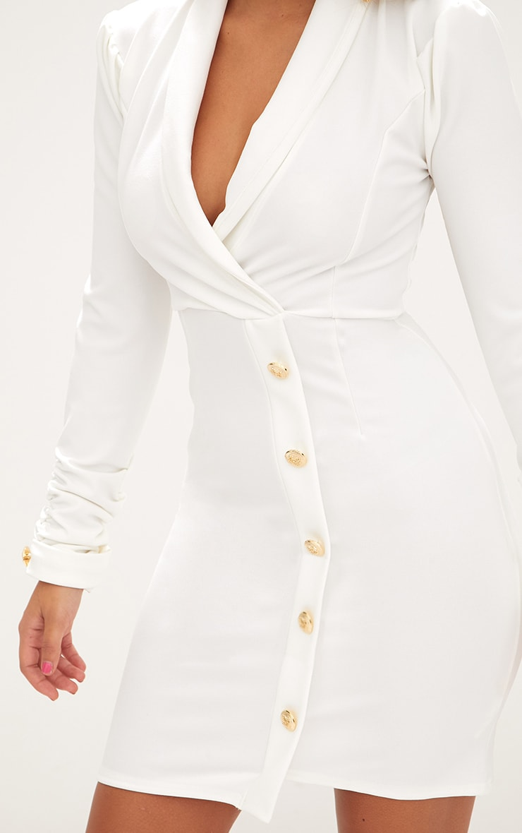 White Gold Button Ruched Sleeve Blazer Dress 5
