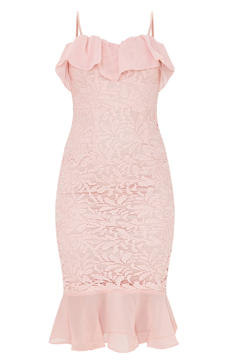 Dusty Pink Chiffon Frill Strappy Lace Midi Dress 5