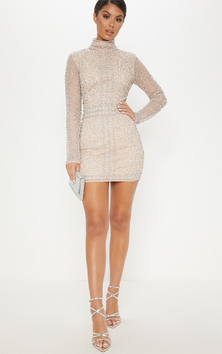 Nude Sequin Embellished High Neck Bodycon Dress 4