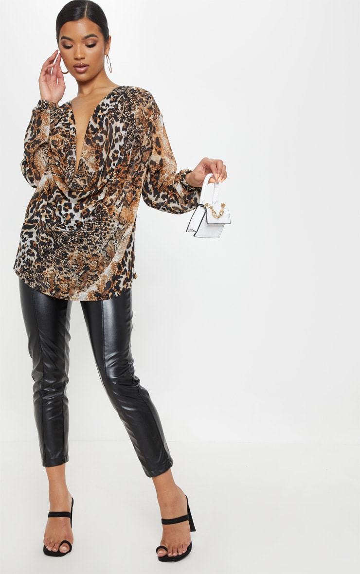 Brown Sheer Snake Print Cowl Neck Blouse 4
