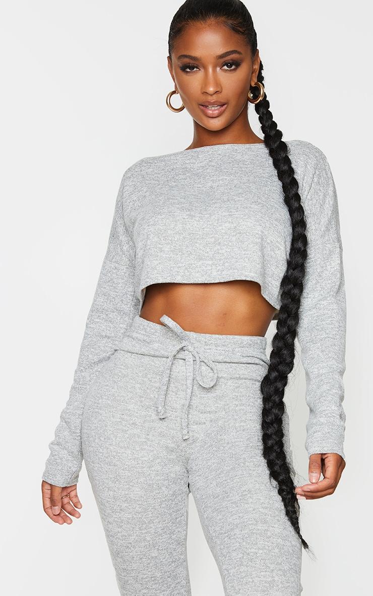 Shape Cream Long Sleeve Knitted Crop Top 1