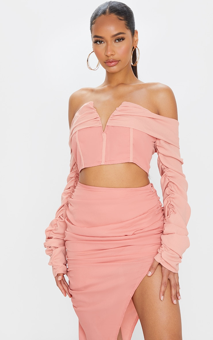 Salmon Woven V Bar Draped Front Ruched Sleeve Crop Top 1