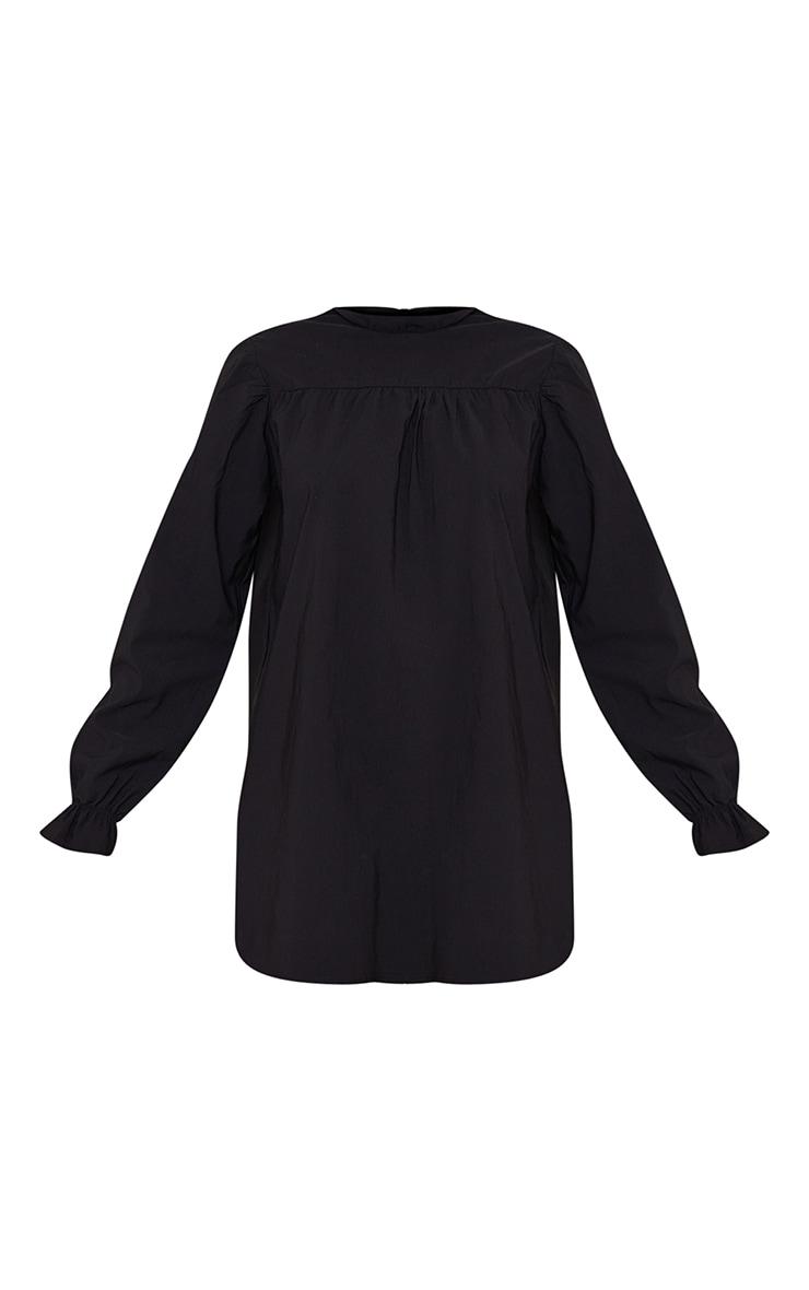 Black High Neck Ruffle Detail Bengaline Smock Dress 5