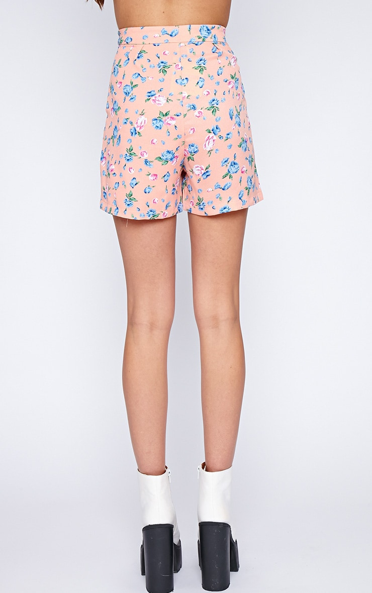 Aleah Pink Floral Tailored Shorts 2