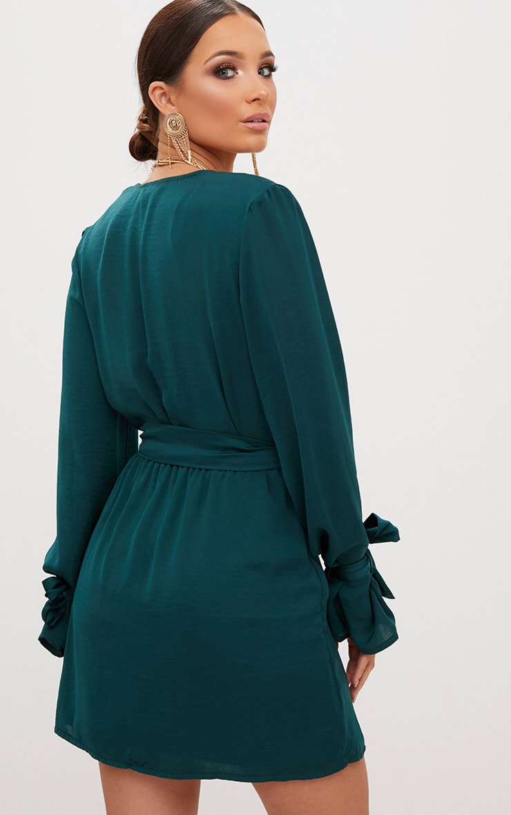 Emerald Green Satin Wrap Cuff Detail Shift Dress 2