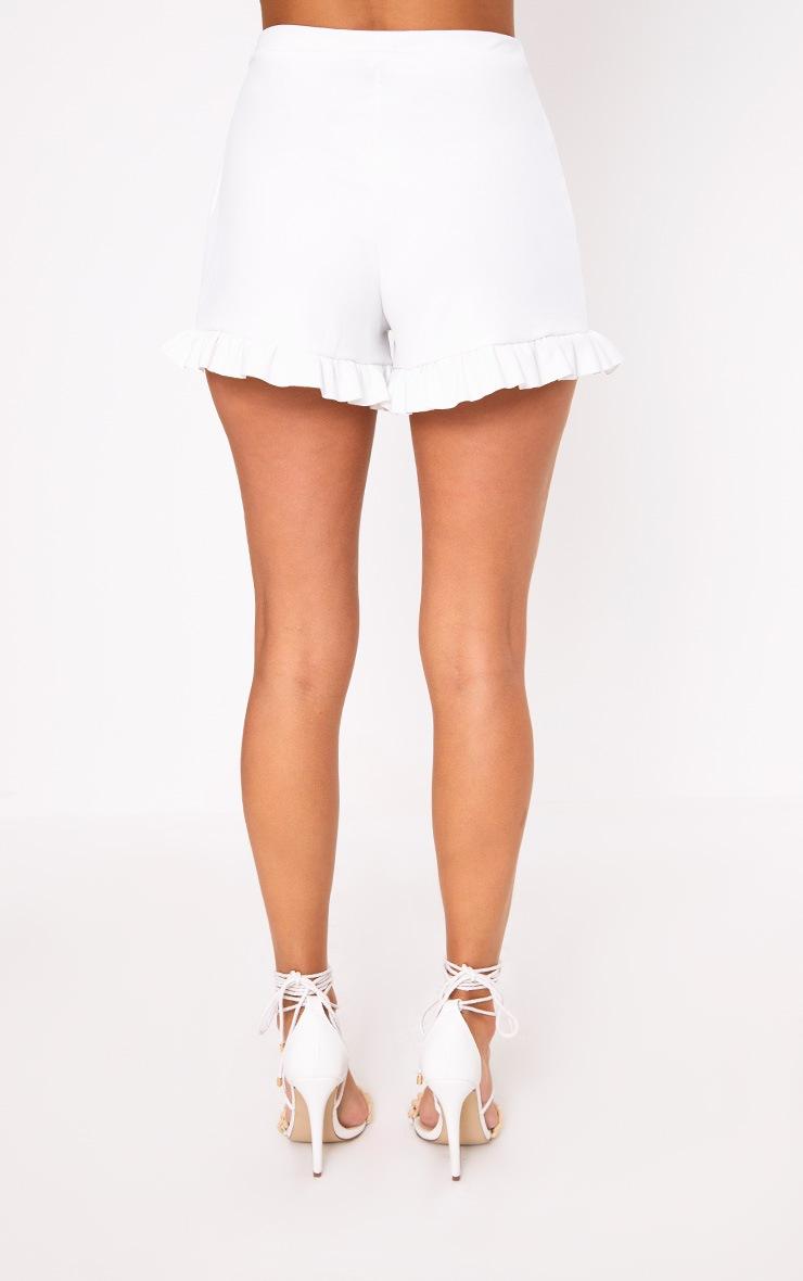 White Frill Hem Shorts  4