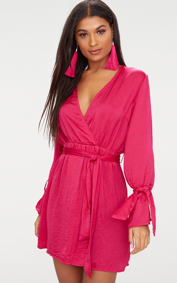 Hot Pink Satin Wrap Cuff Detail Shift Dress