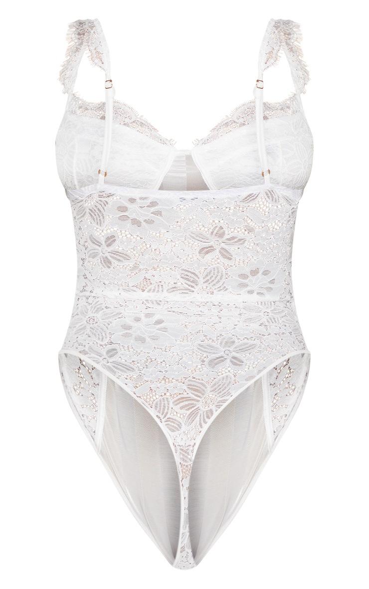 Shape White Lace Mesh Stripe Bodysuit 4