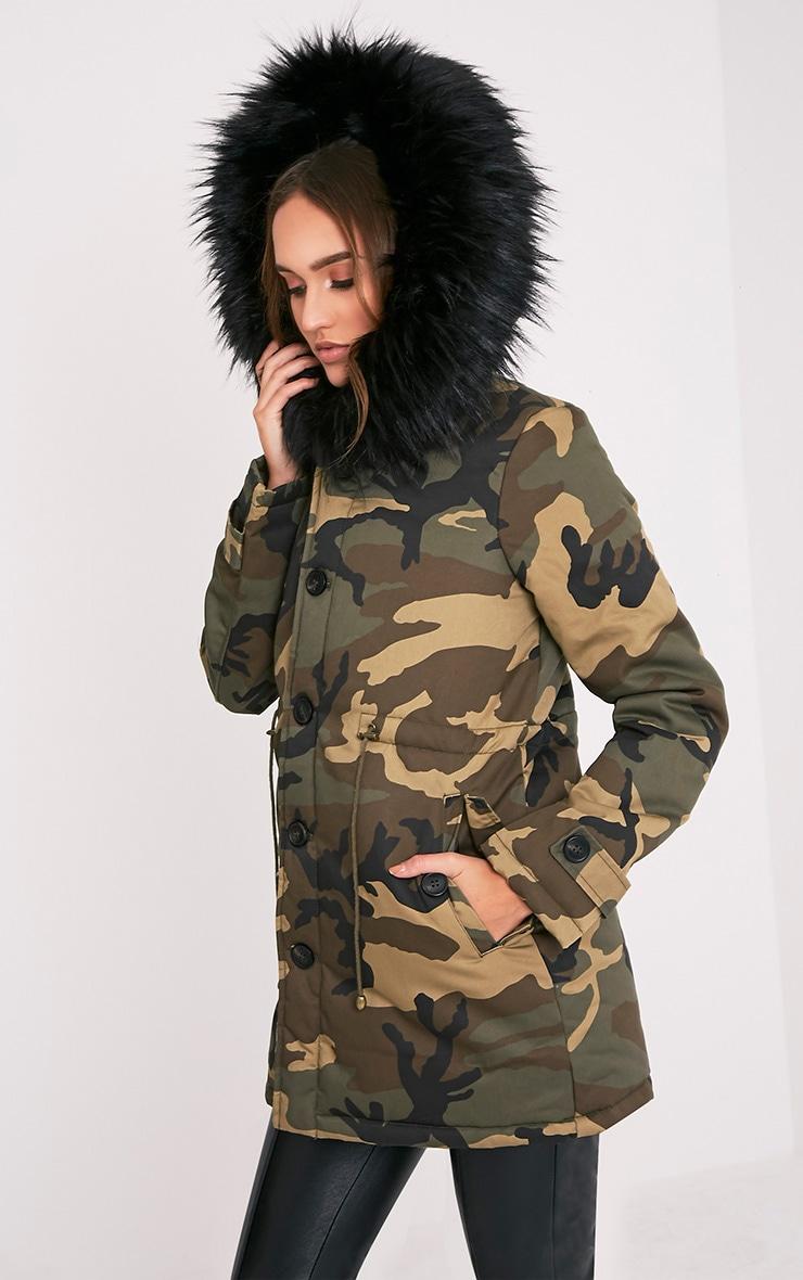 Fliss Premium parka camouflage à doublure en fausse fourrure noire 4