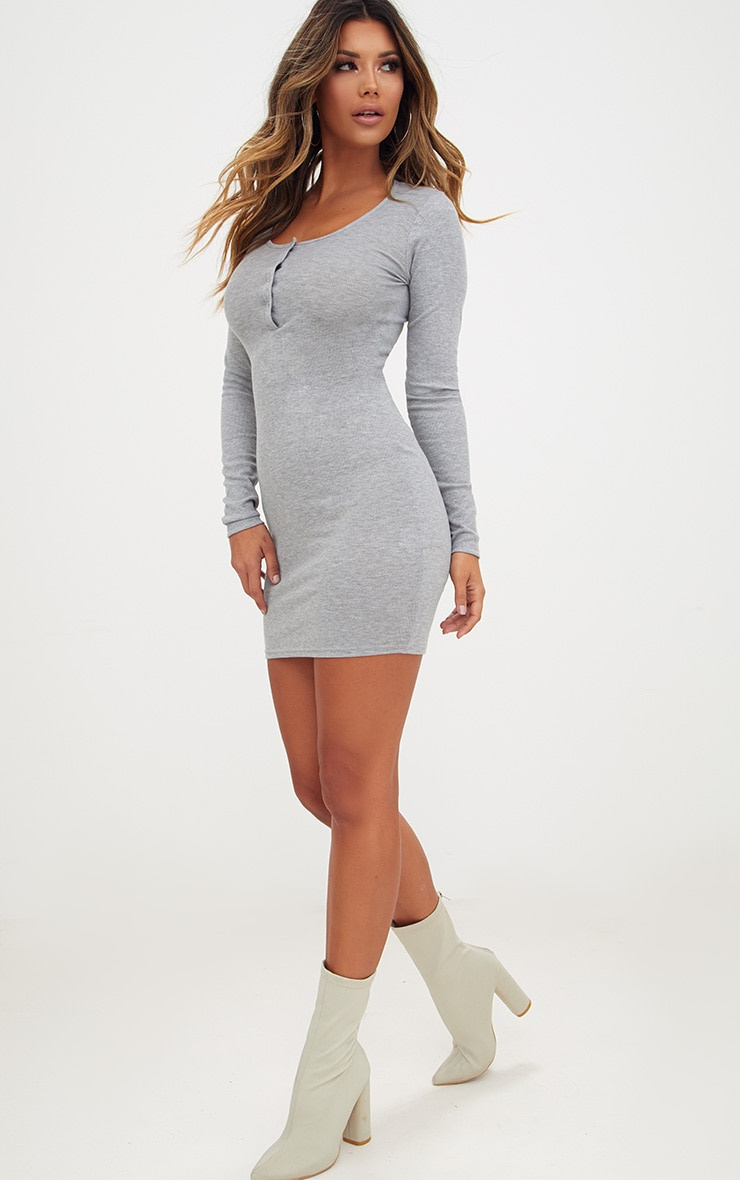 Grey Ribbed Long Sleeve Popper Front Dress 4