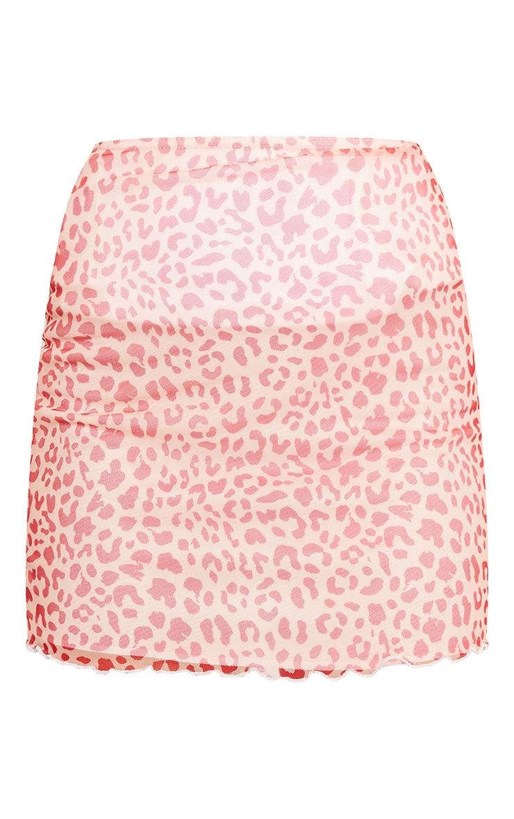 Pink Leopard Print Lettuce Hem Skirt 6