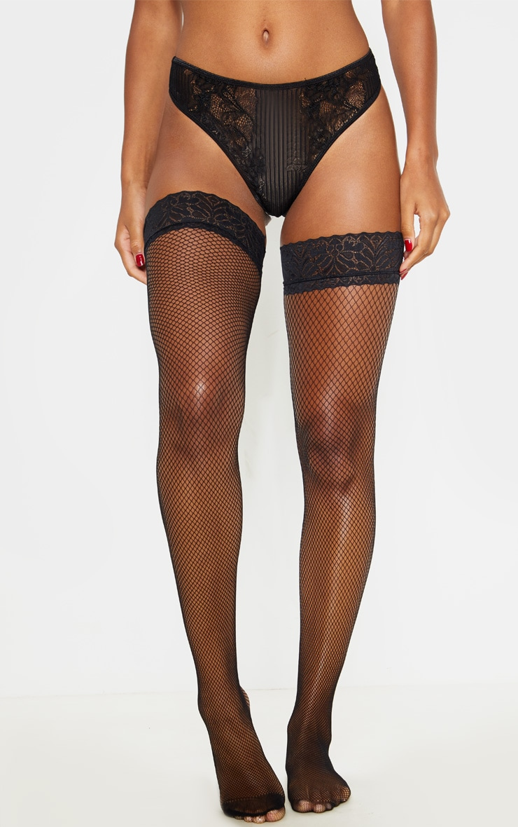 Black Lace Top Fishnet Hold Ups 1