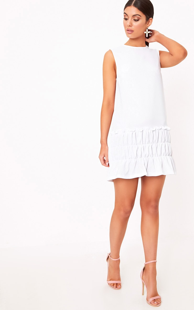 Salinda White Sleeveless Ruffle Detail Shift Dress  4