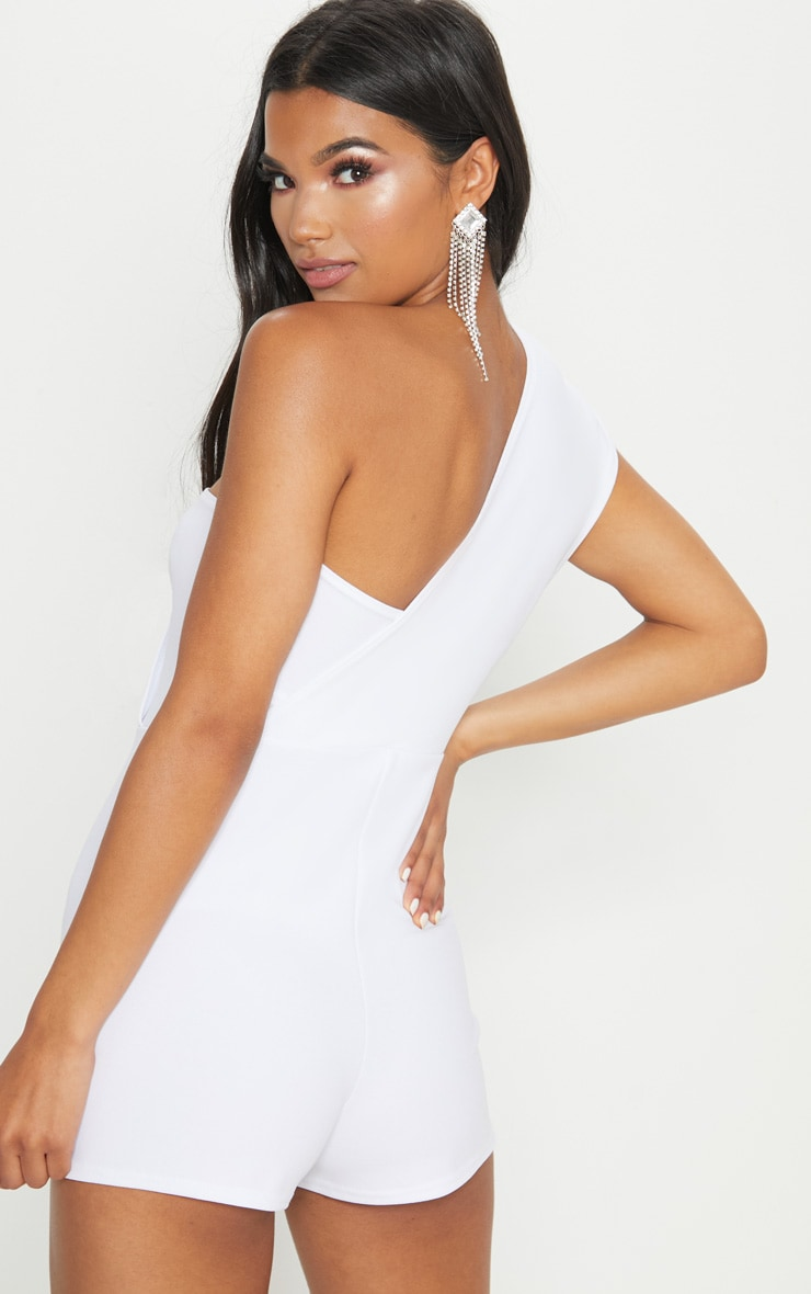 White Drape One Shoulder Playsuit 3