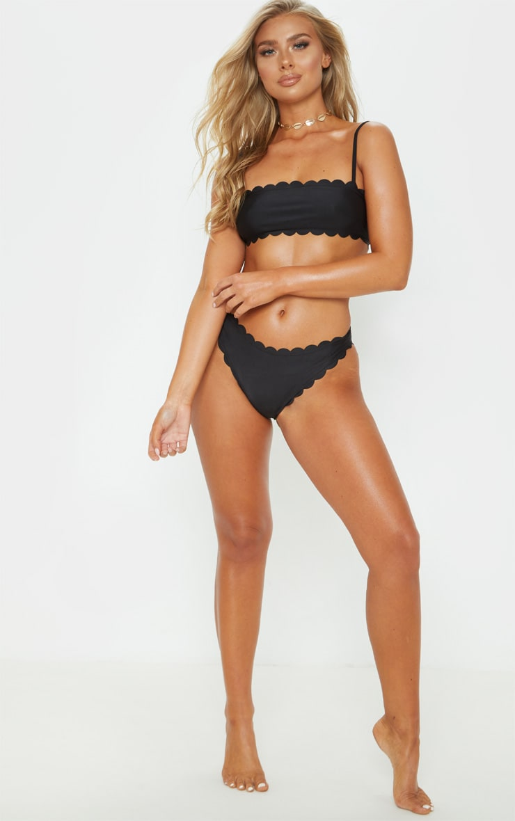 Black Scallop High Leg Bikini Bottom 5