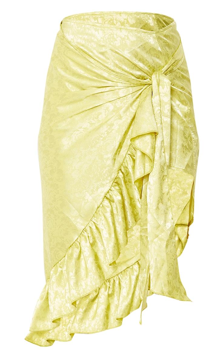 Lime Green Printed Satin Frill Hem Tie Waist Midi Skirt 5