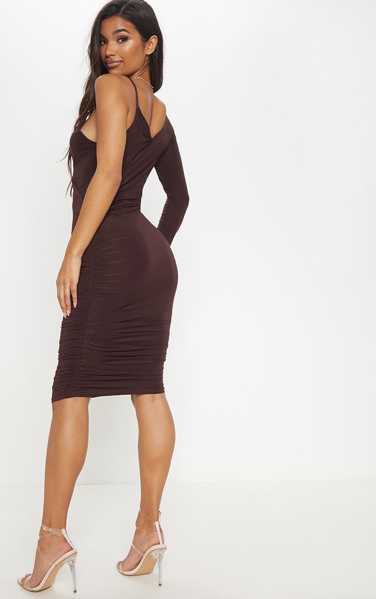 Chocolate Slinky One Shoulder Wrap Detail Midi Dress 2