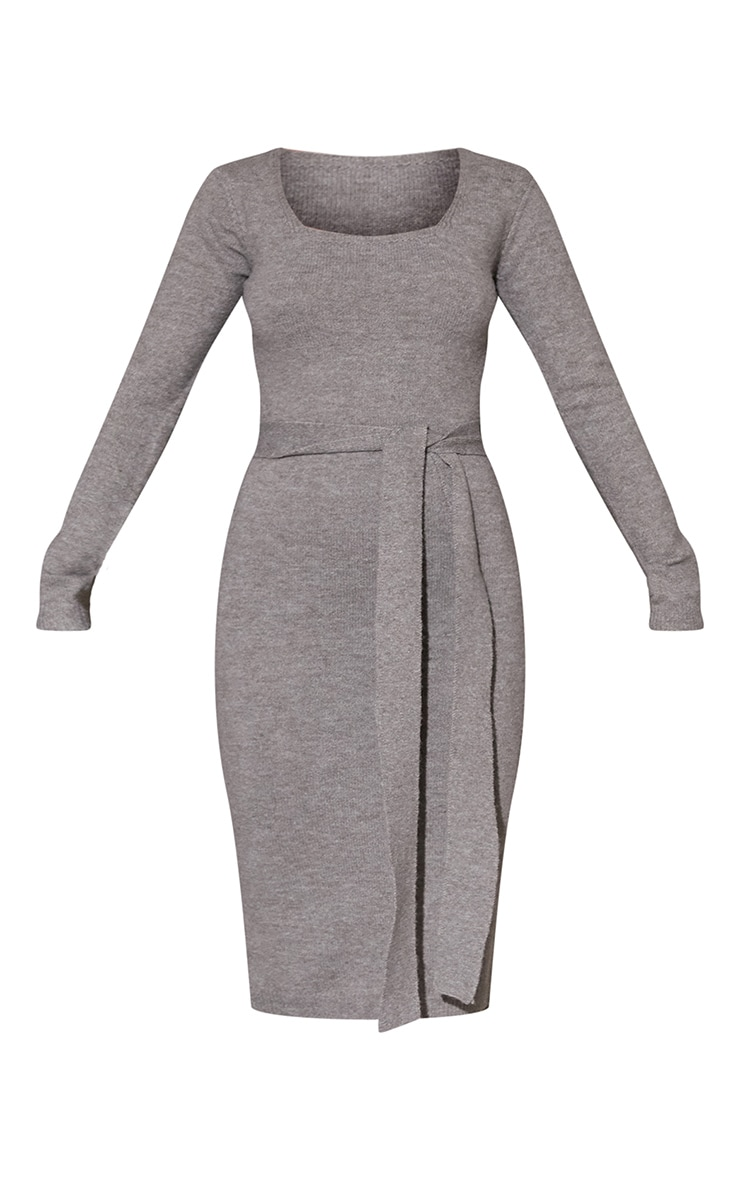 Khaki Recycled Belted Square Neck Knitted Midi Dress 5